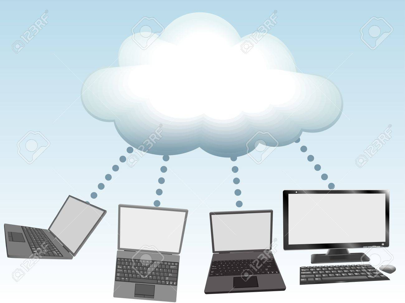 Laptop and desktop computers connect to cloud computing network information technology Stock Vector - 10101381