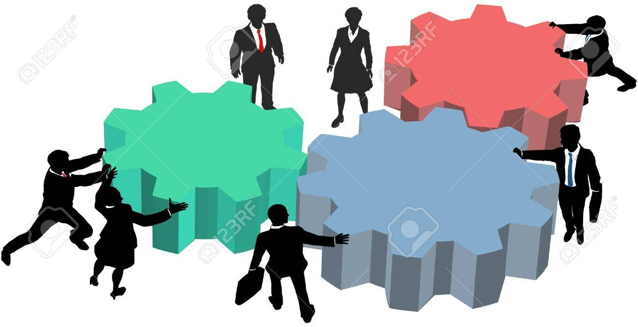 Business people silhouettes push gears together to form a technology plan Stock Vector - 10101382