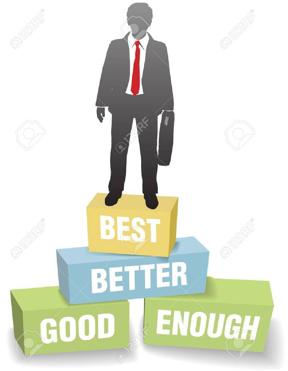 improvement business man standing on good enough better and best improvement business man standing on good enough better and best boxes stock vector 10367722