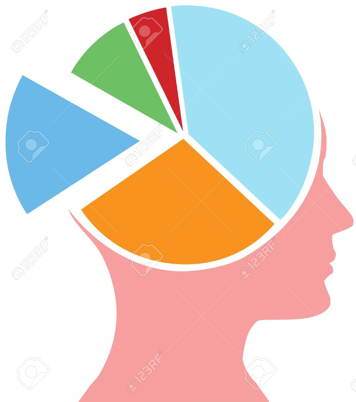 Mind share person has a head for business as a financial pie chart Stock Vector - 10619665
