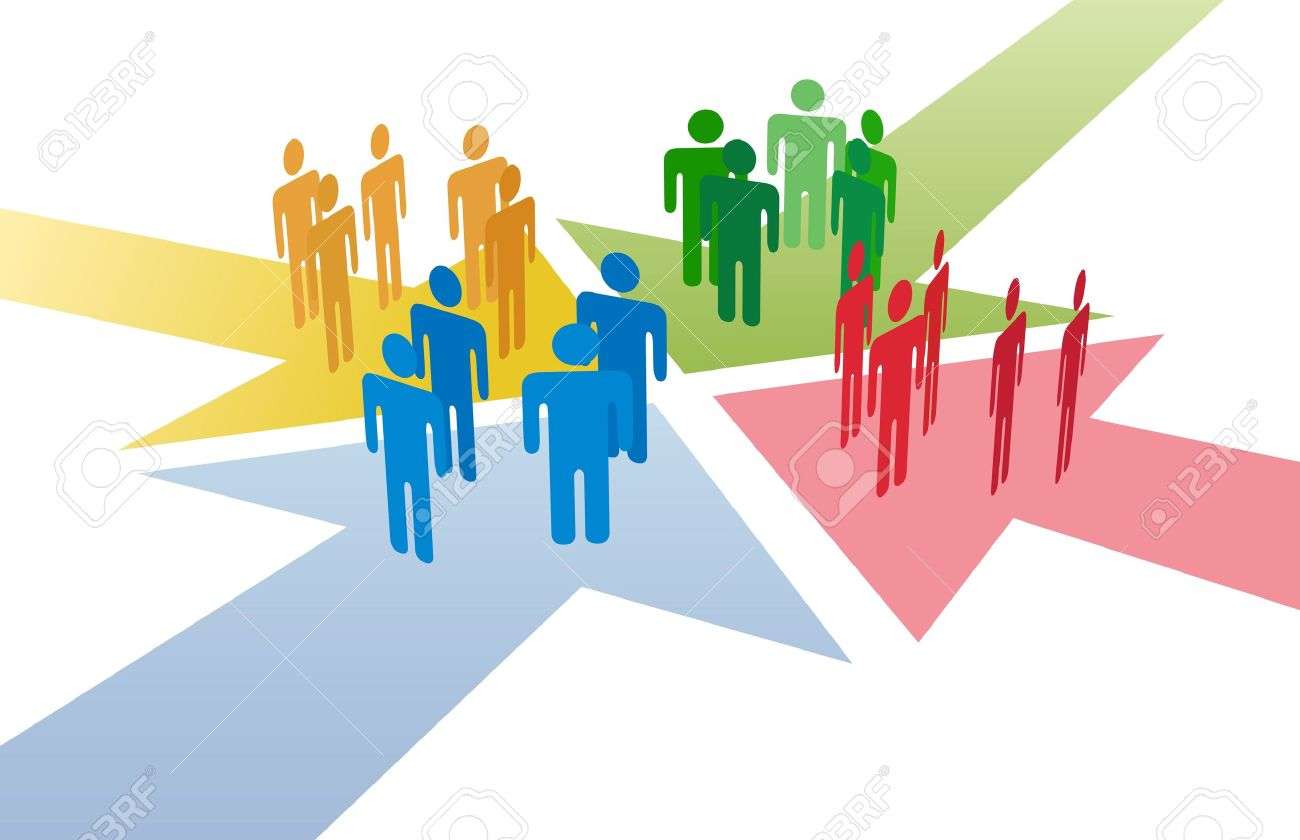 Four groups of people meet and connect at intersection of 4 arrows Stock Vector - 10775417