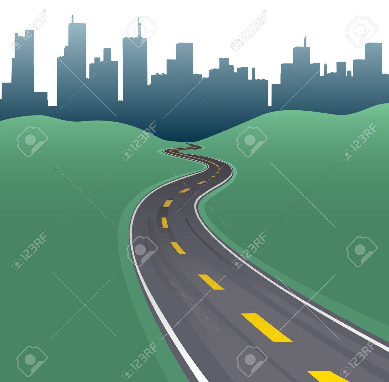 Highway path curves toward city buildings urban skyline Stock Vector - 11266844