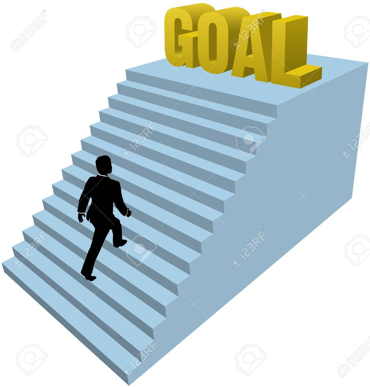Business Man Climbs Up Stair Steps To Achieve Success Goal Stock Vector    11597989