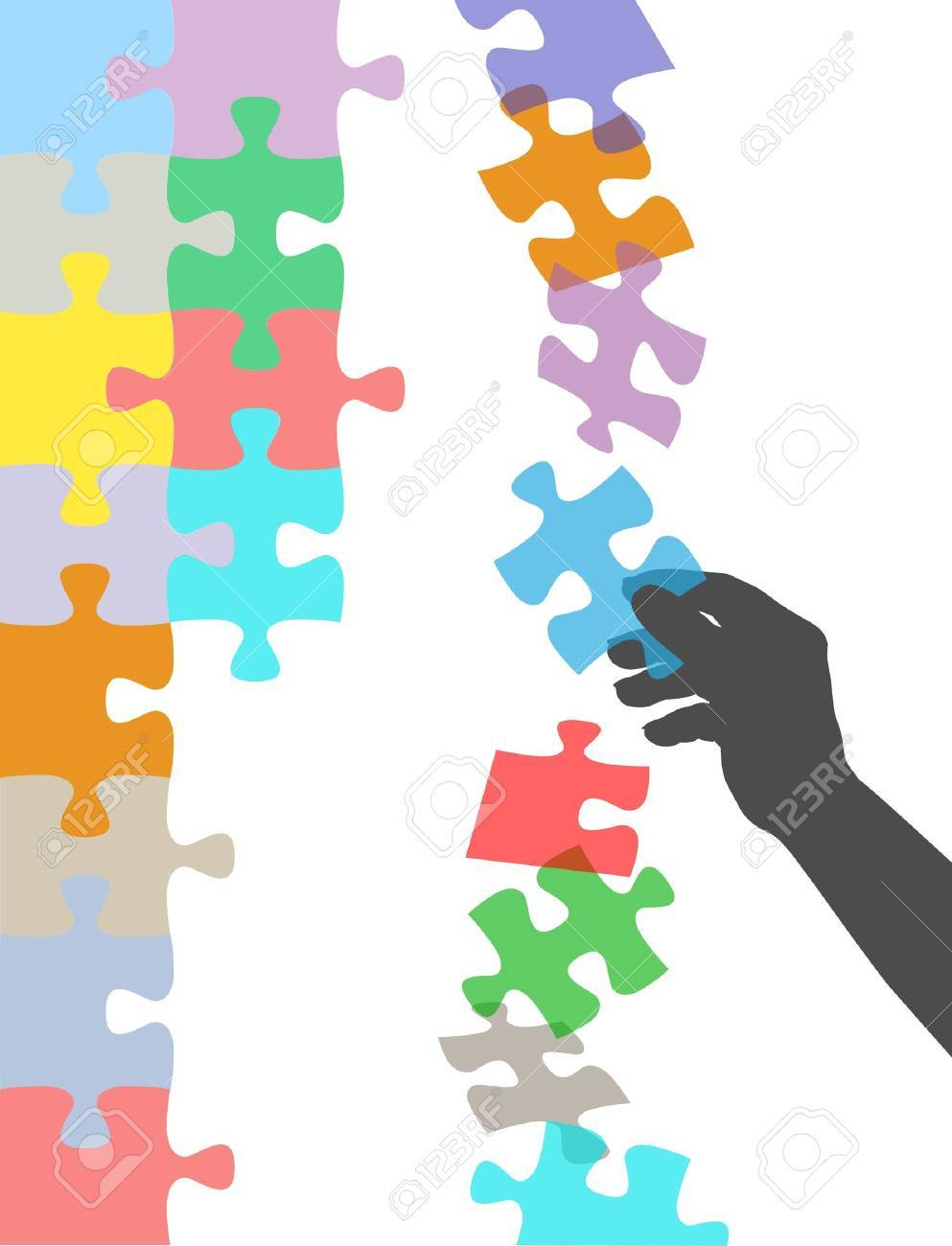 Person holds in hand missing piece to find solution to falling puzzle Stock Vector - 11841327