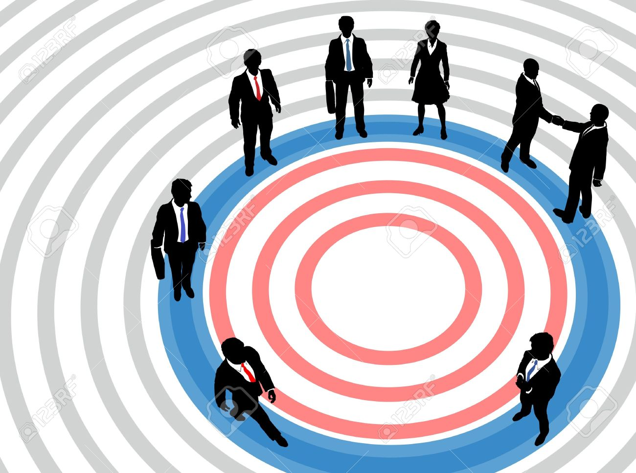 Corporate business executive people aim at concentric circles of marketing target Stock Vector - 12109109