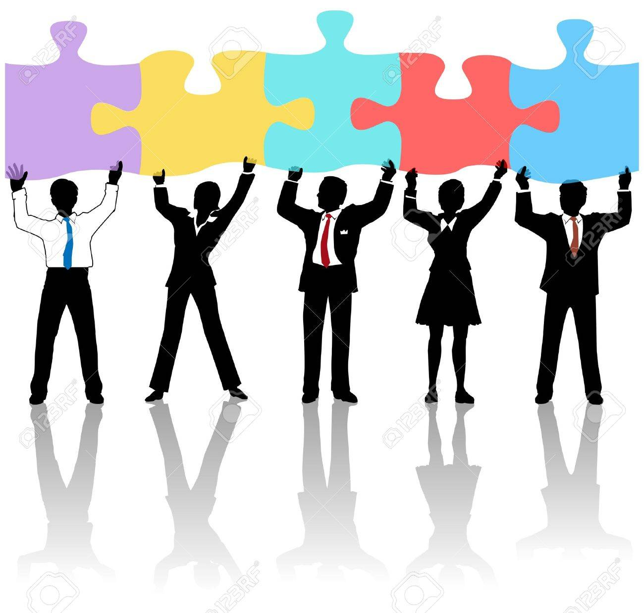 Team of business people collaborate holding up jigsaw puzzle pieces as a solution to a problem Stock Vector - 12853013