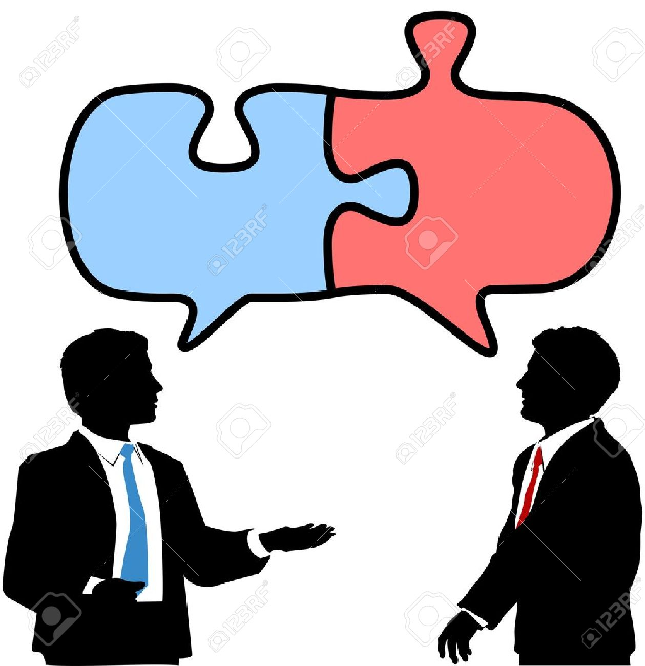 Two business people talk to find solution in puzzle shape speech bubbles Stock Vector - 13540571