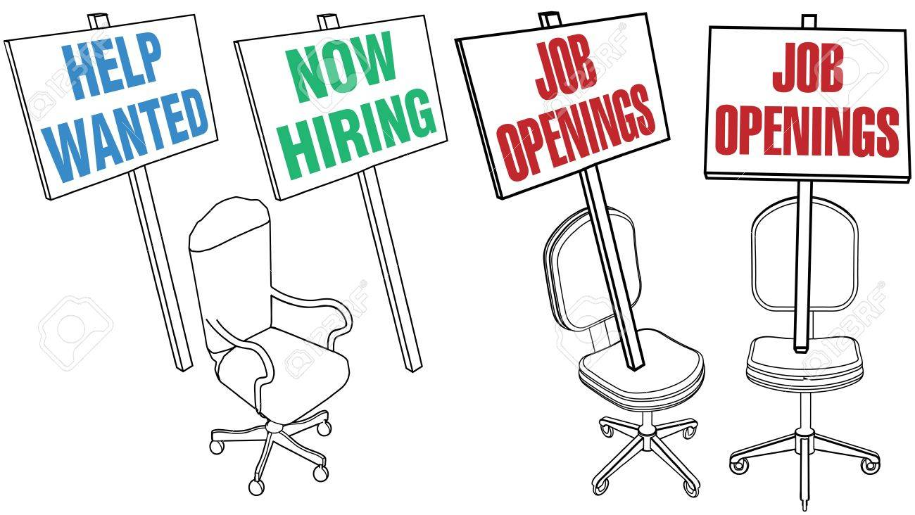 job hiring sign empty office chair icons for human resources job hiring sign empty office chair icons for human resources web pages and newspaper classified ads
