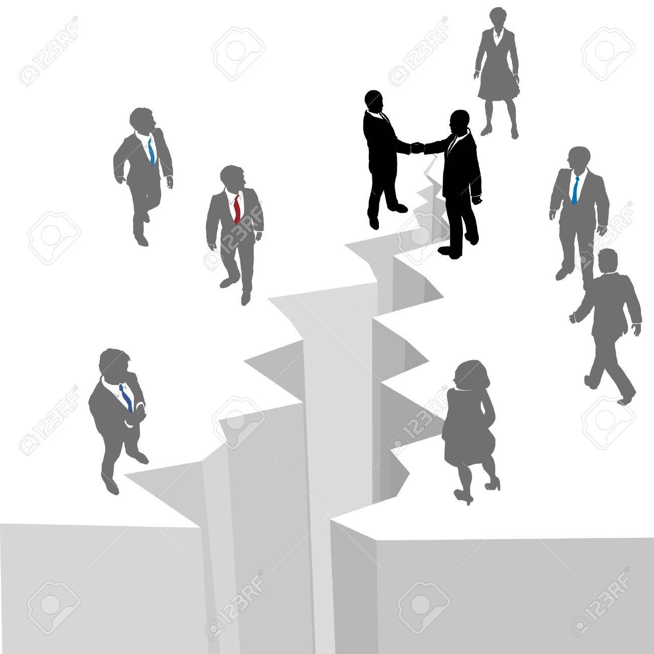 Two business groups reach across gap to close deal reunite or merge Stock Vector - 13628291