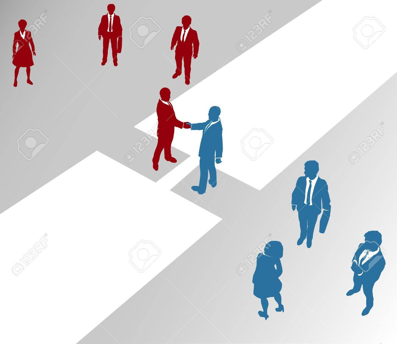 Two company teams join in a handshake connection over a gap Stock Vector - 13734933