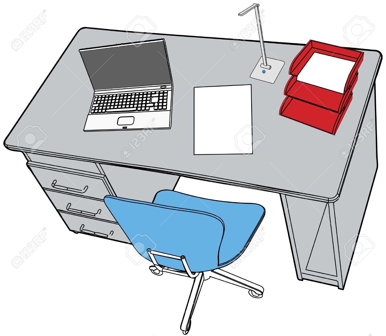 Dessin Au Trait De La Scne Soigne Avec Du Papier Bureau