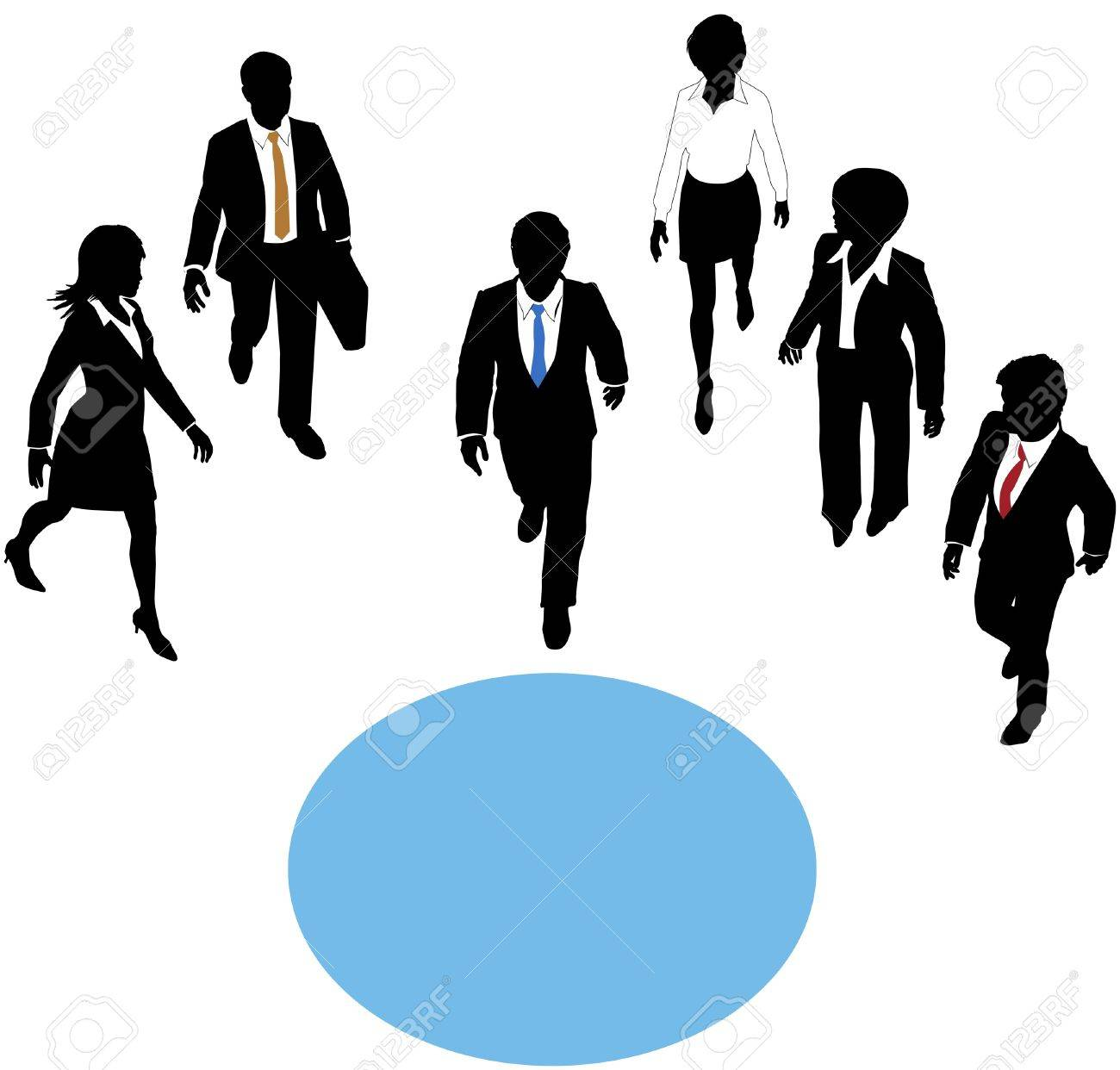 Group of business people walk paths toward a connection copyspace circle Stock Vector - 14232414