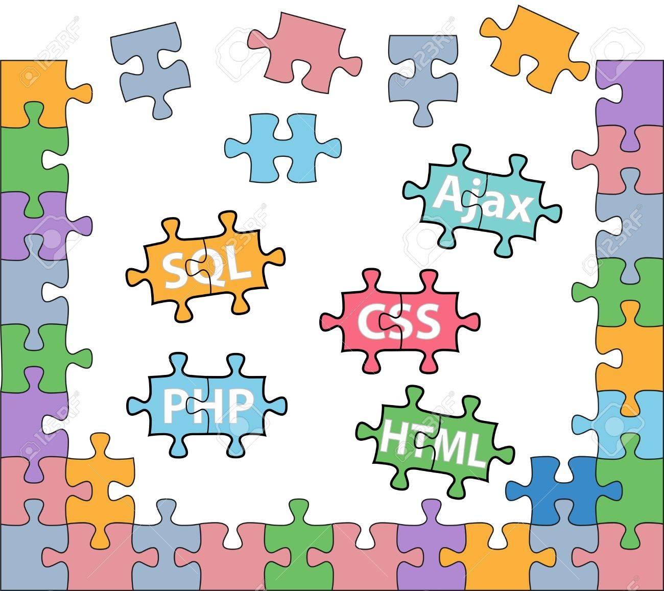 HTML PHP CSS SQL jigsaw puzzle pieces in internet web development solutions Stock Vector - 14491336