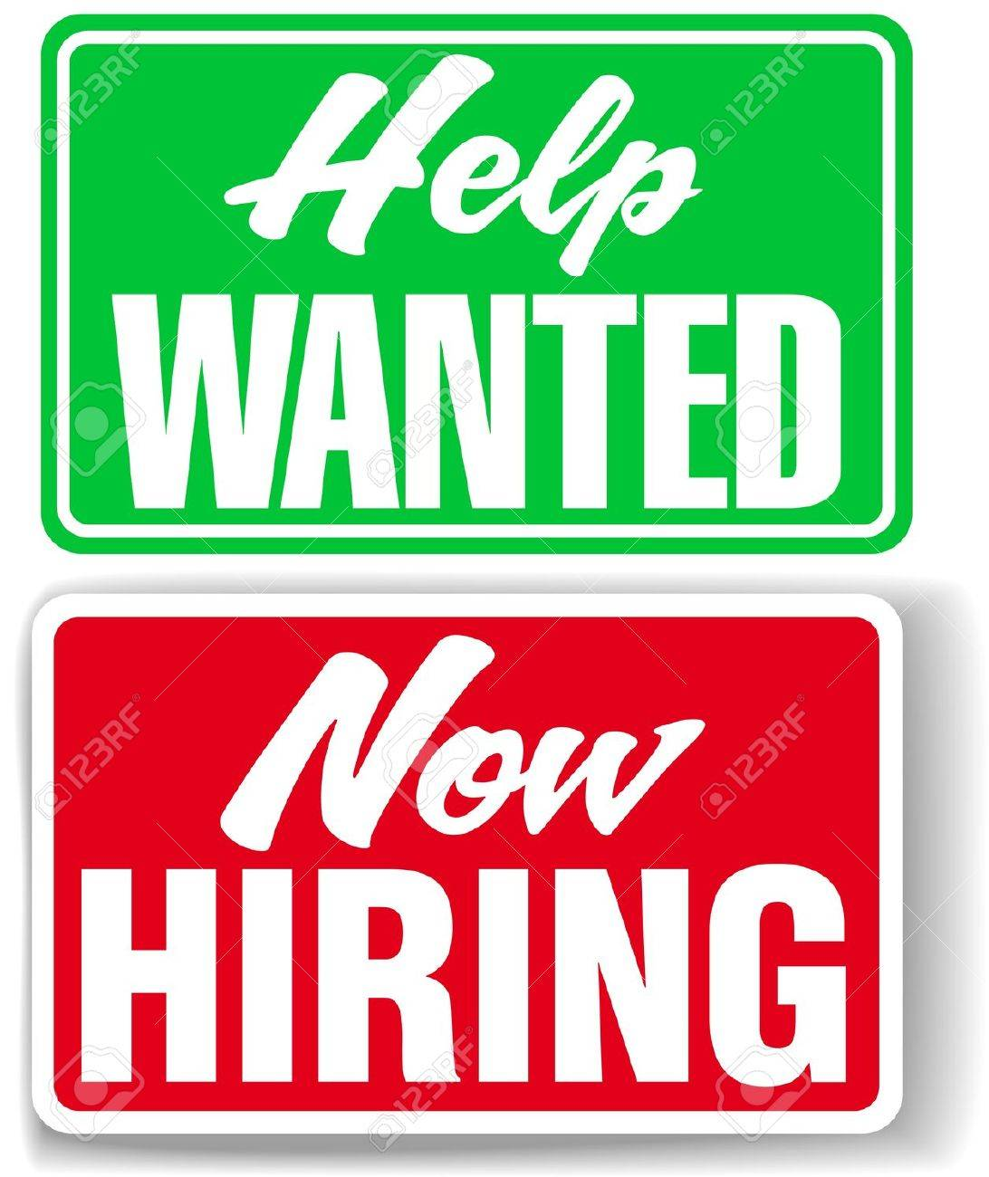 Two retail store style signs for human resources Help Wanted and Now Hiring Stock Vector - 14782862