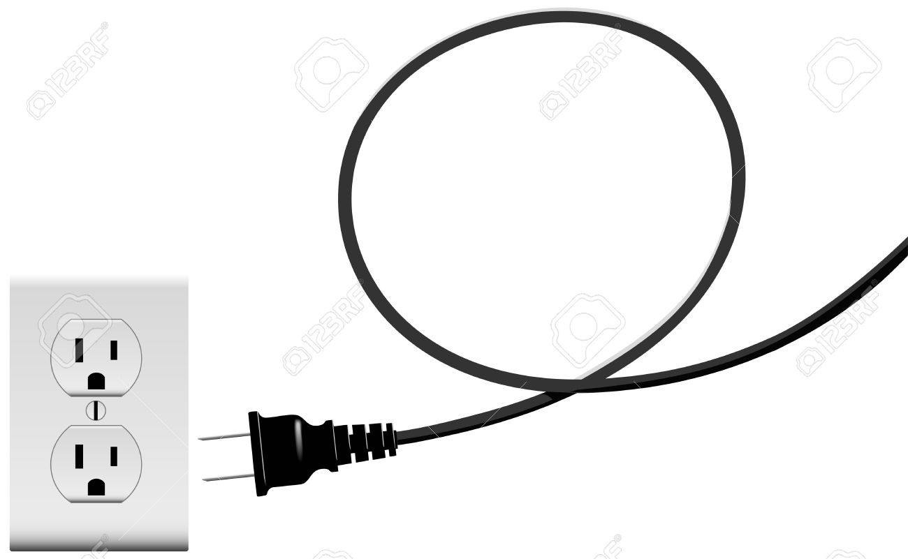 Electric Power Cord Loop Forms Copyspace Plug Into Outlet Royalty ...