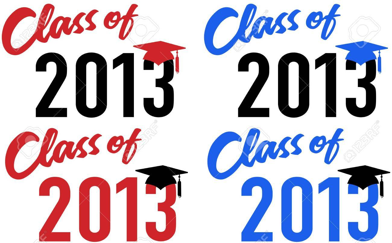 Class of 2013 graduation celebration announcement caps in red and blue school colors Stock Vector - 15291630