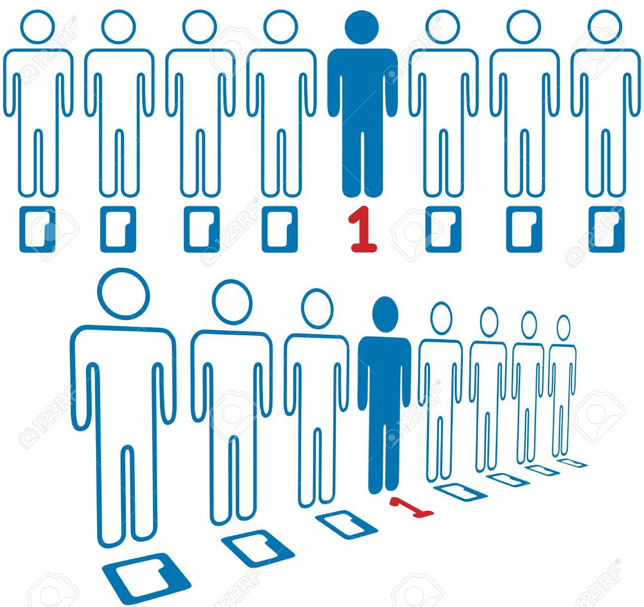 Information age hero not a zero in line of digital people Stock Vector - 15400602