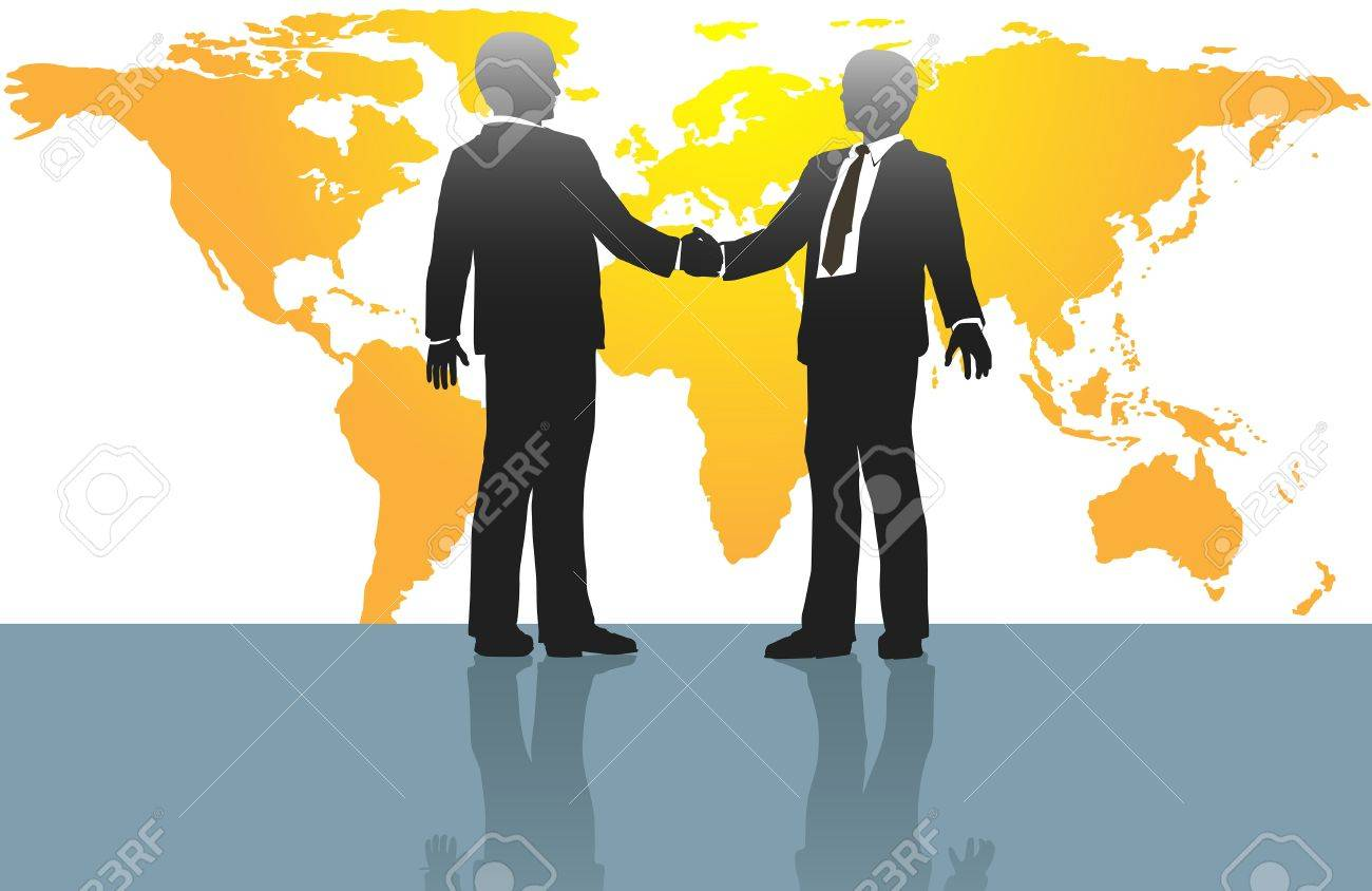 Business people handshake on global deal in front of world map Stock Vector - 15705967