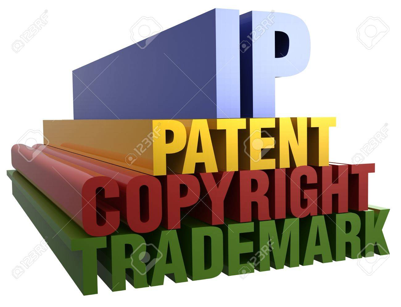 Intellectual Property Patent Copyright Trademark 3D word stack with clipping path Stock Photo - 17200854