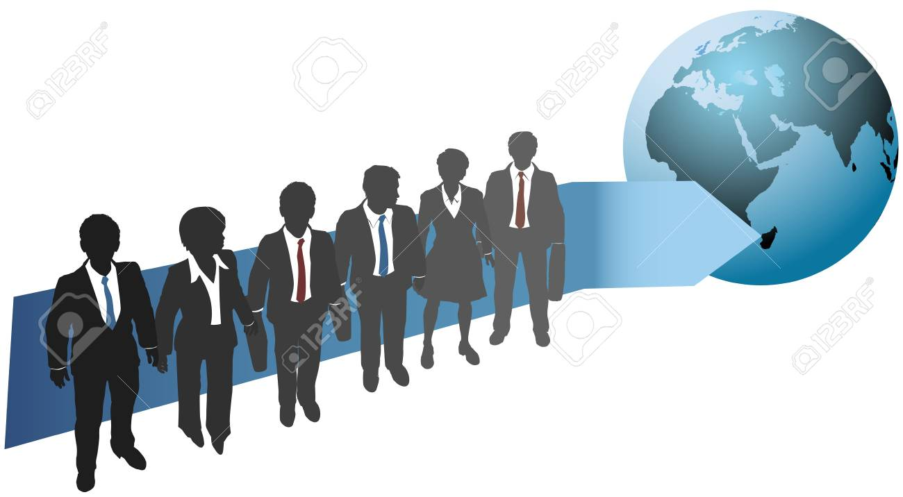 Business people stand with arrow pointing direction to global future Stock Vector - 17200855