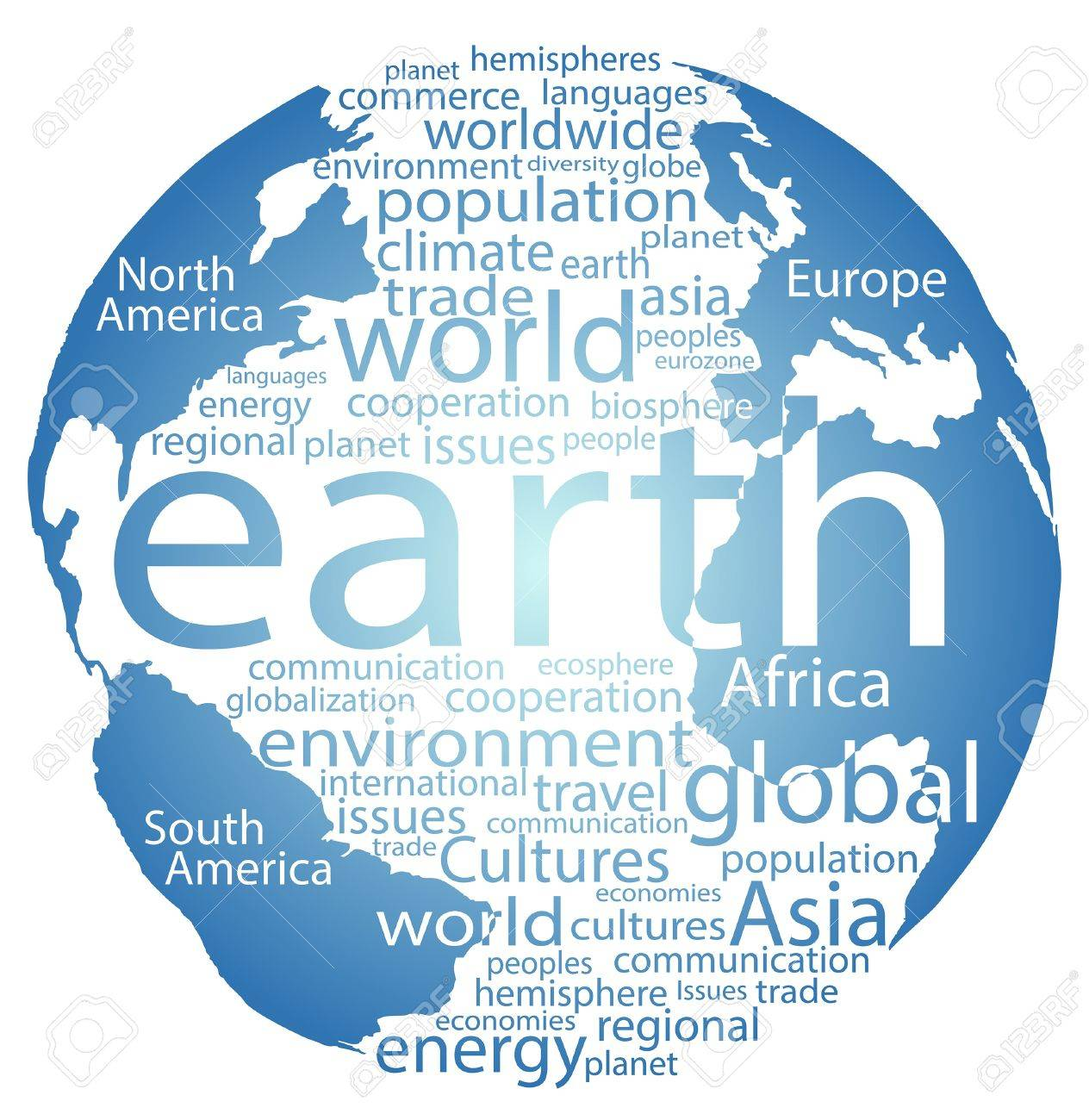 earth globe and whole world word cloud tags royalty free cliparts