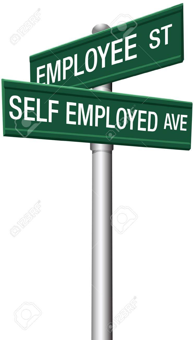 Self employed freelance or employee direction street signs Stock Vector - 17677362