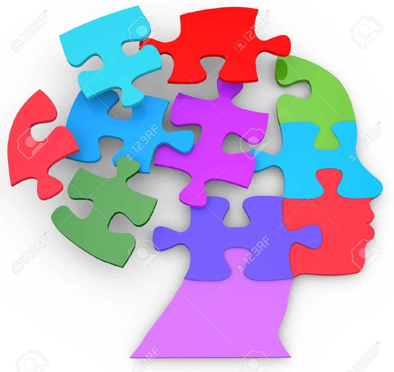 Head Of A Woman As Mind Thought Problem Jigsaw Puzzle Pieces Stock Photo
