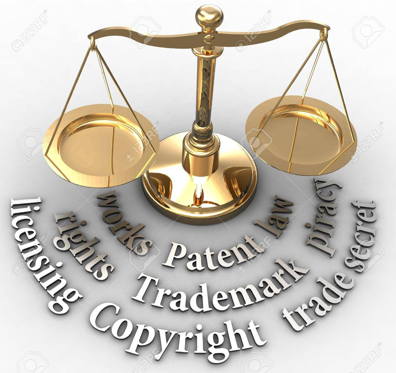 Scale with intellectual property concepts of patent copyright trademarks Stock Photo - 19706980