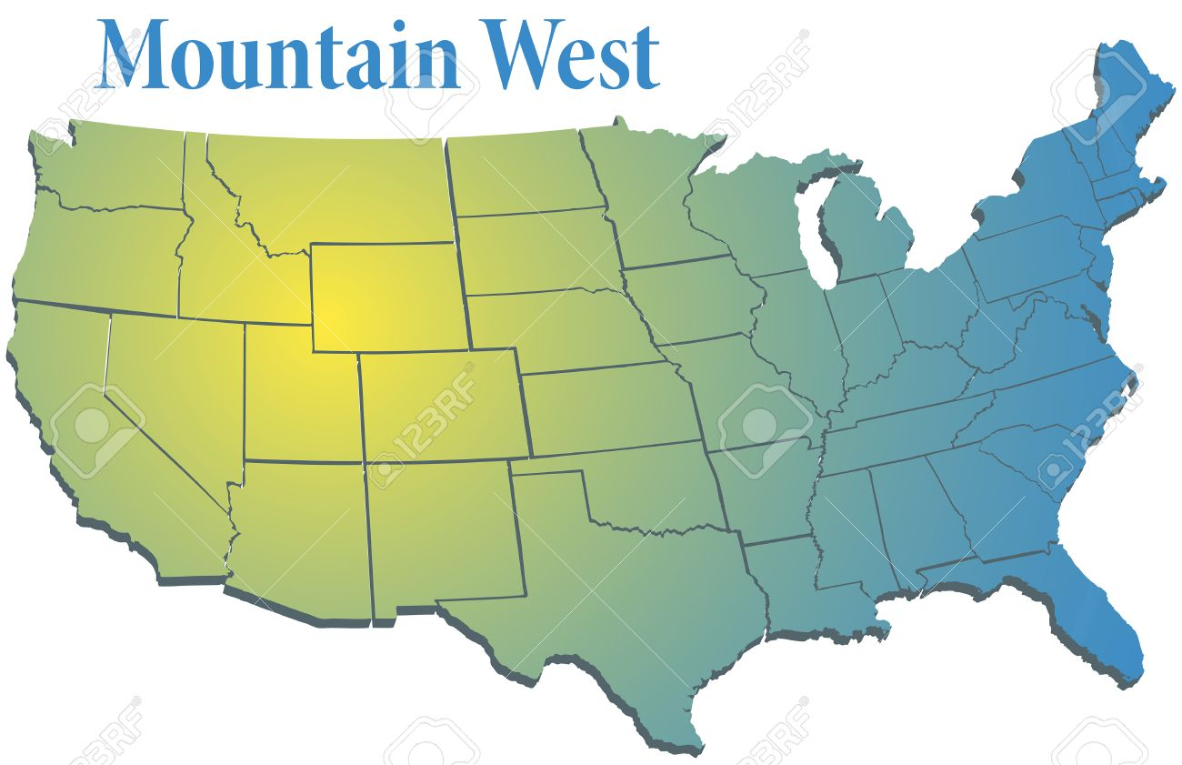 Colorado Mountains Sunny Spotlight Shines On Map Of States In Us Mountain West Region