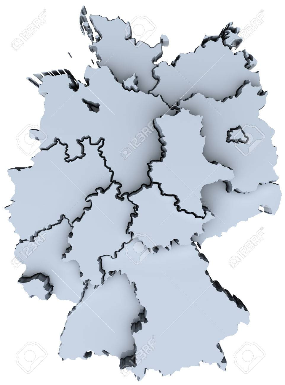 map of germany sixteen states german republic deutschland stock photo 28466365