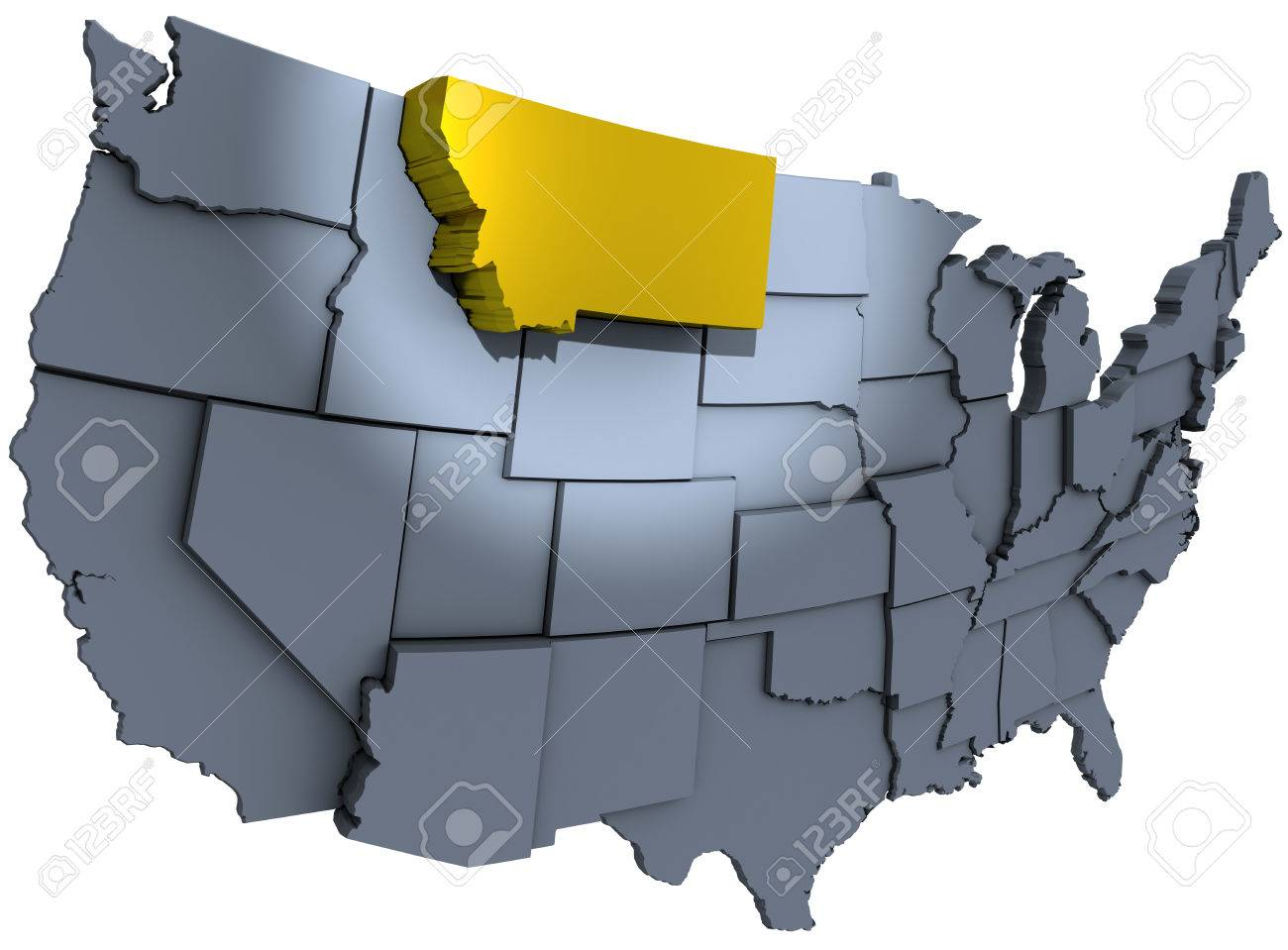 Spotlight On Gold Montana Treasure State In Map Of United States - Montana on us map