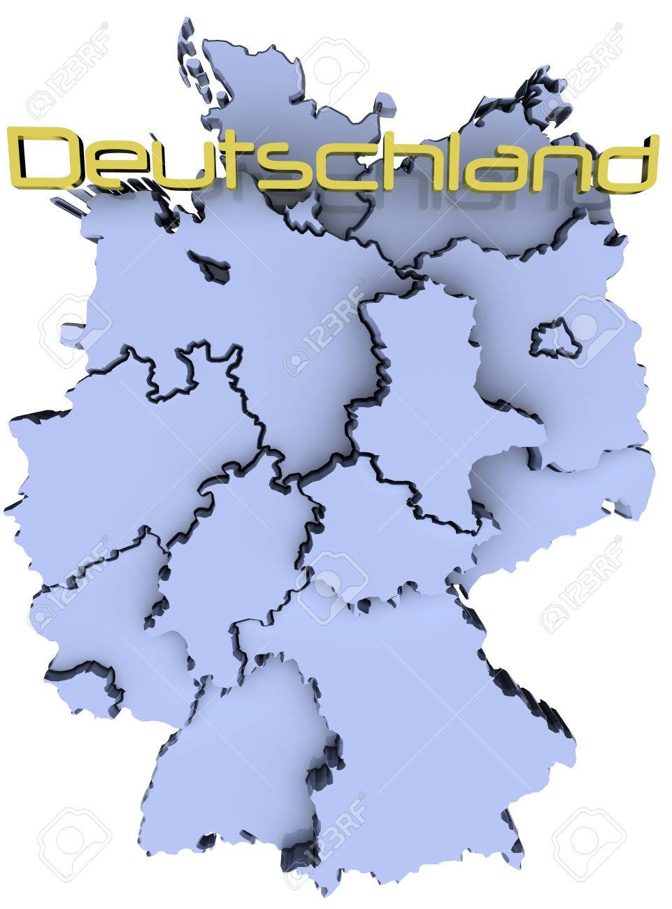 Map Of Deutschland Germany.Map Of Germany States German Republic Deutschland Name Stock Photo