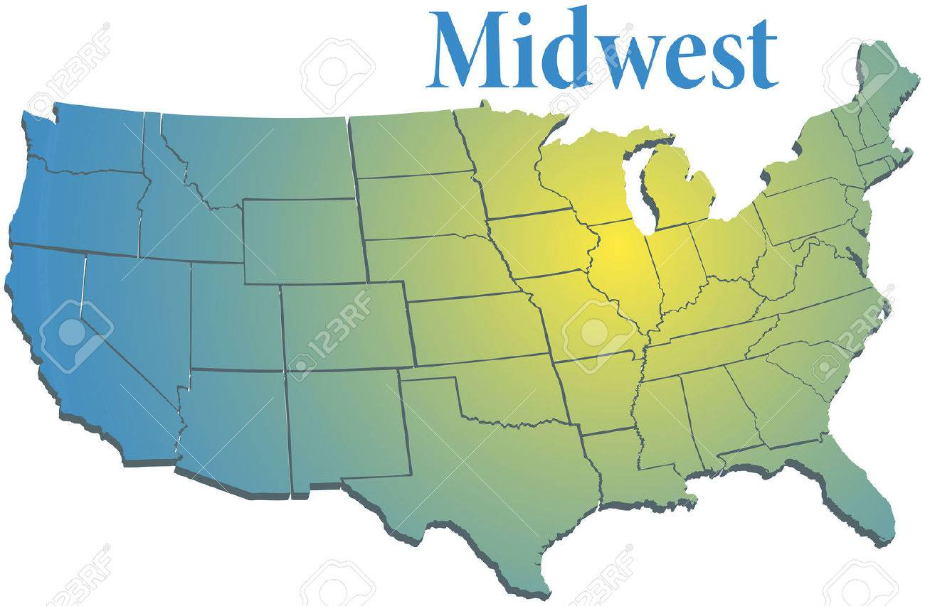 Sunny Spotlight Shines On Midwest Map Of States In Us Midwestern - Map-of-us-midwest-states