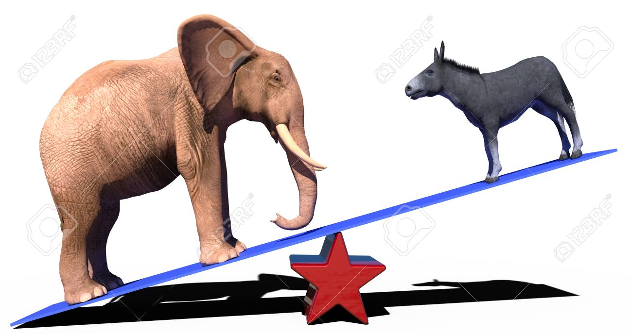 Republican Elephant Democrat Donkey Election Political Party Stock