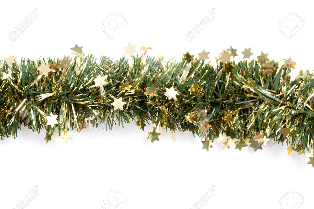 Artificial Fir Branch Garland With Tinsel Formed To Straight