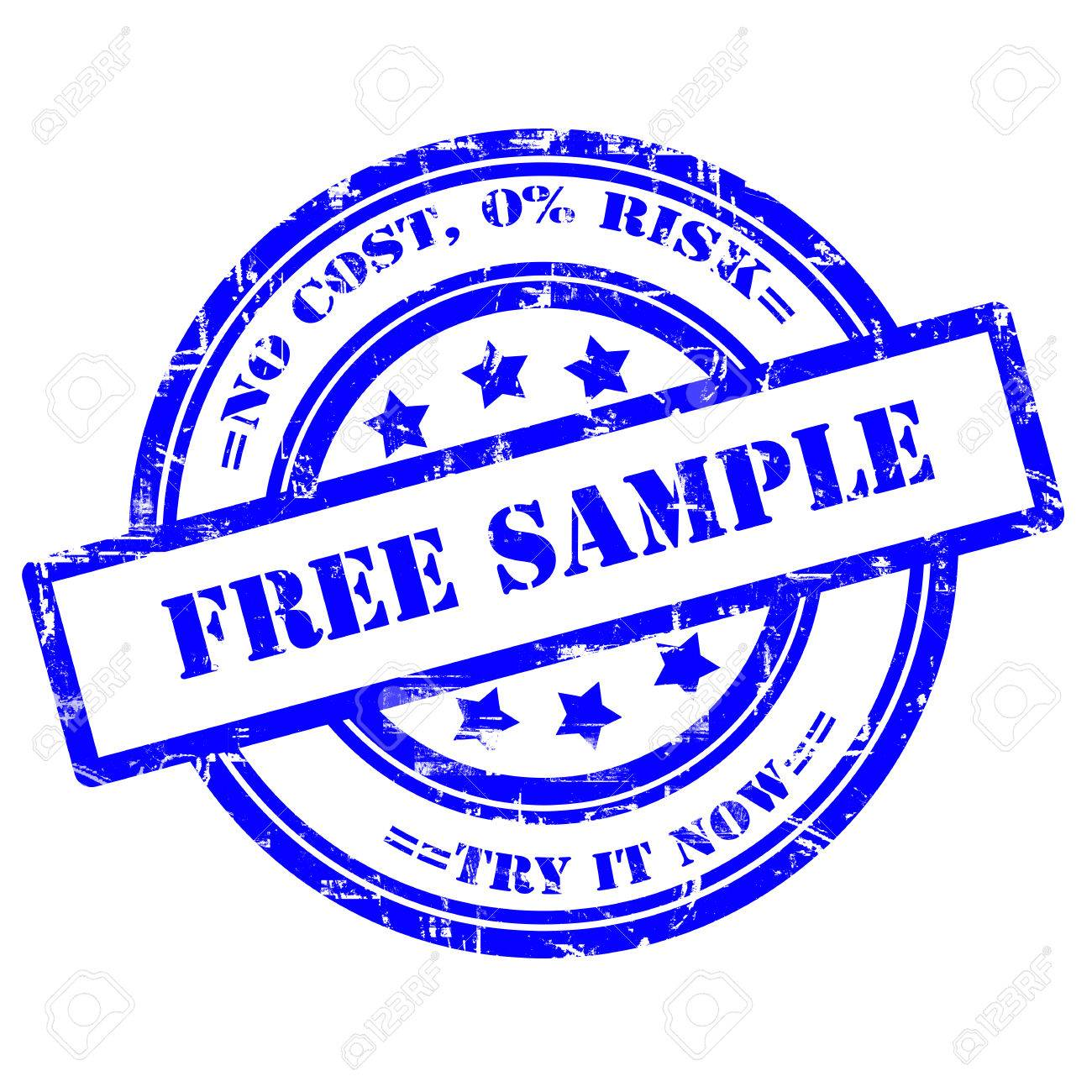 Free Sample, Try It Now. Rubber Stamp, Grunge, Isolated On White ...