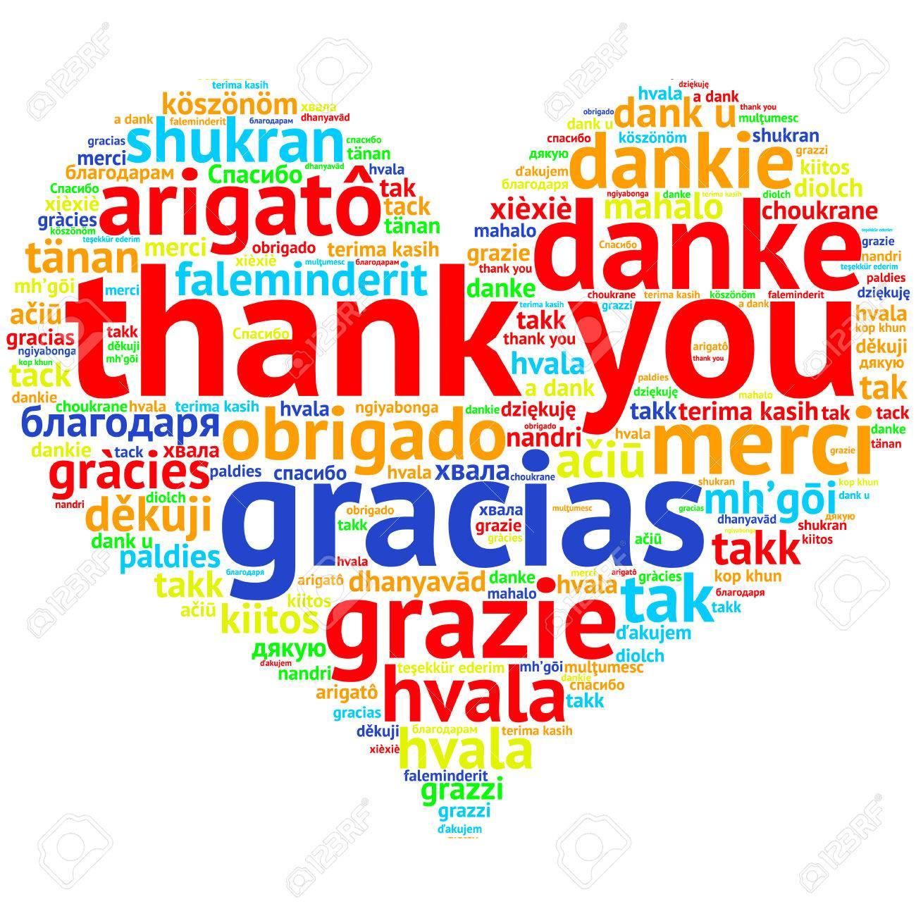 Se Centran En Inglés: Gracias. Nube De Palabras En Forma De ...