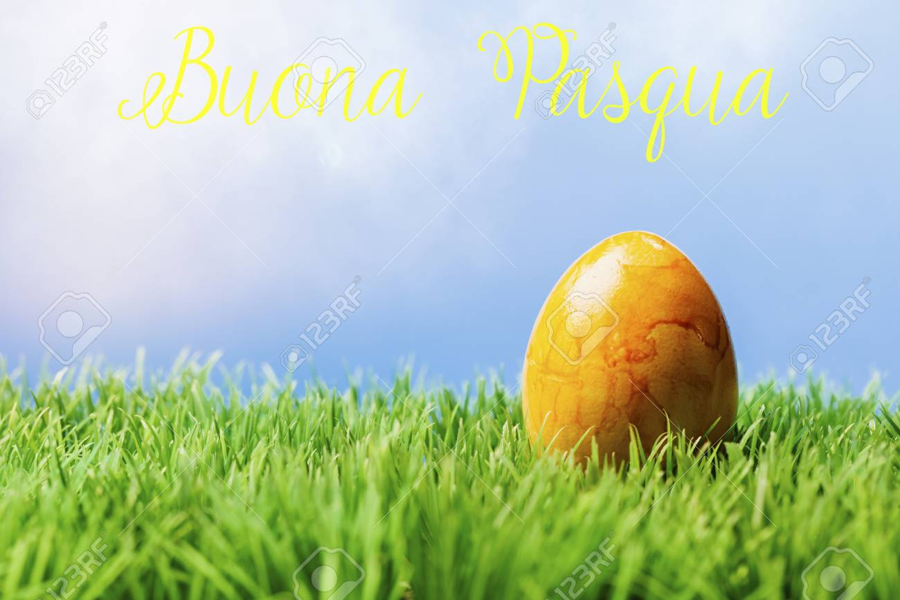 Italian Greeting Text Wishing Happy Easter One Painted Yellow