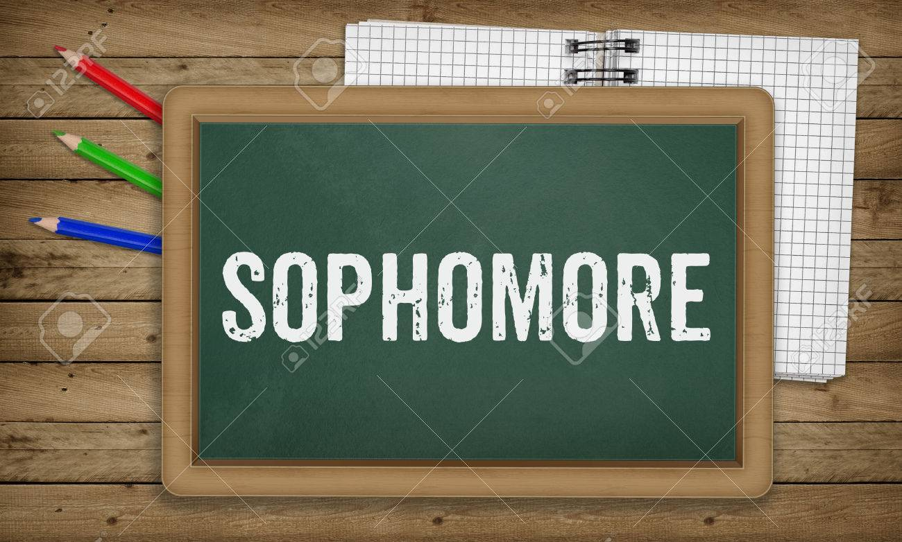 Word Sophomore As Text In Chalk On Green Board, Education School.. Stock  Photo, Picture And Royalty Free Image. Image 71179872.