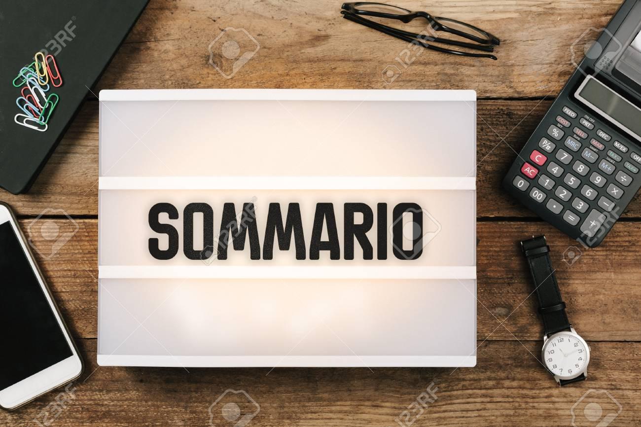 Sommario, Italian text for Summary, , vintage style light box
