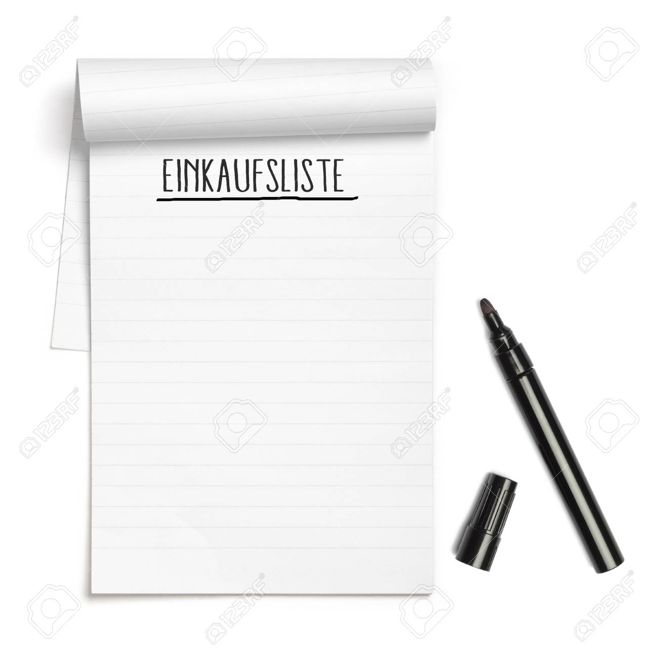 German Einkaufsliste (shopping List) On White Note Pad With Black ...