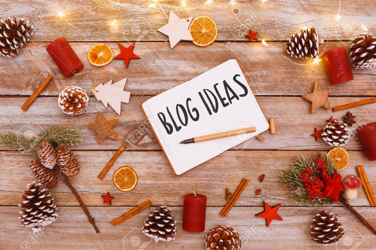 Christmas Chain Text.Blog Ideas Text In Note Pad On Christmas Flat Lay Table With