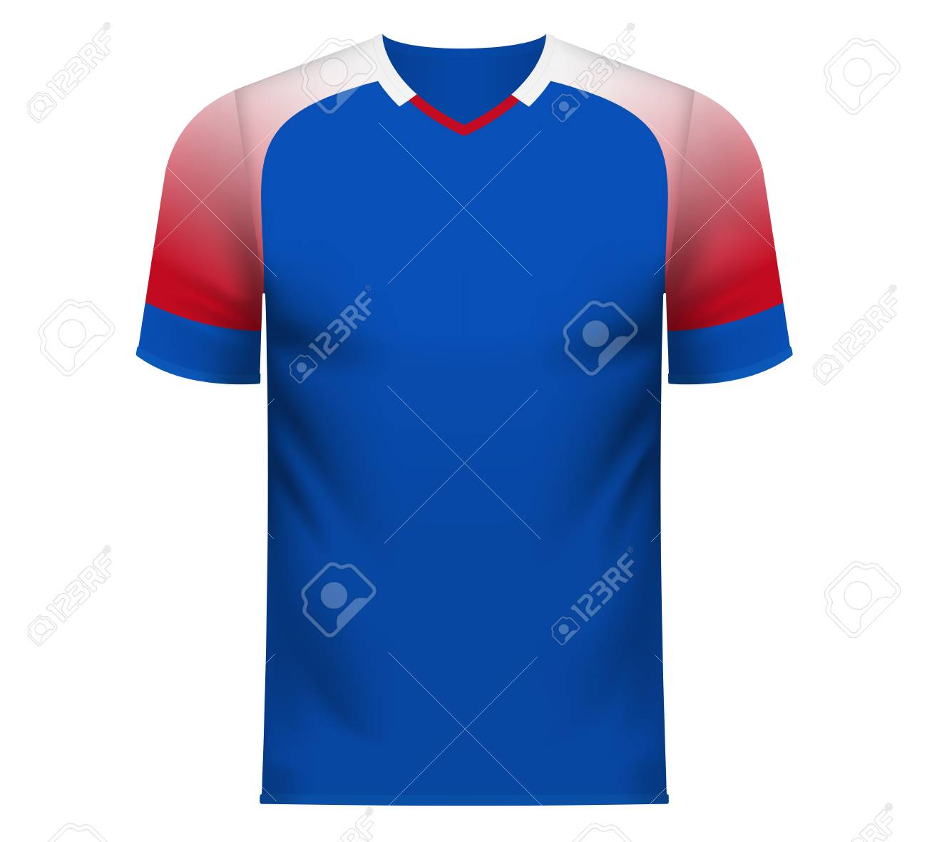 b51e6fbb3c7 Iceland national soccer team shirt in generic country colors for fan apparel.  Stock Vector -