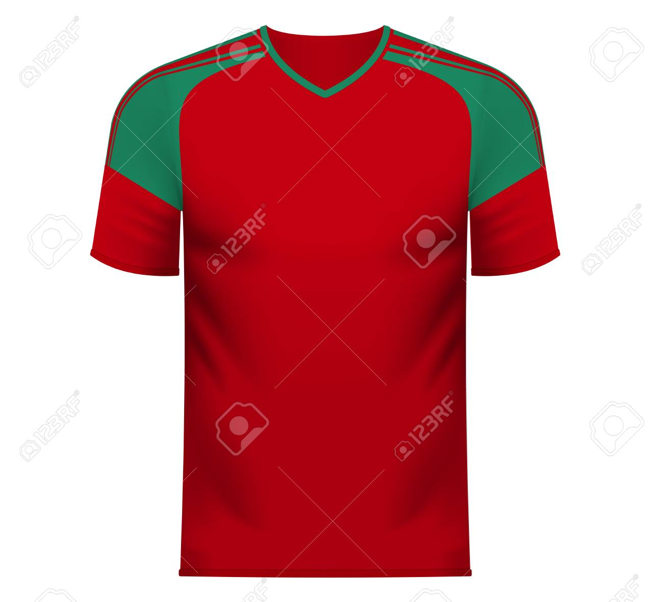 64d66654401 Morocco national soccer team shirt in generic country colors for fan apparel.  Stock Vector -