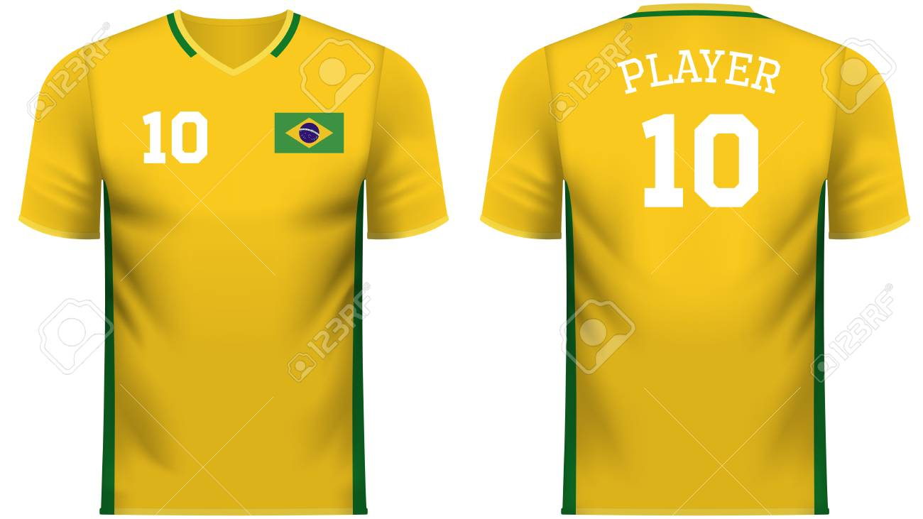 Brazil national soccer team shirt in generic country colors for fan apparel.  Stock Vector - e8528ac73380