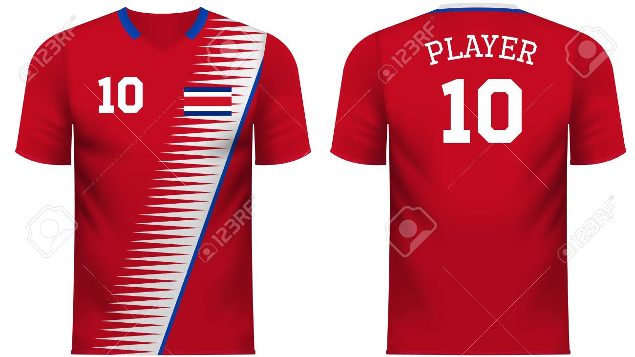 Costa rica national soccer team shirt in generic country colors for fan  apparel stock vector jpg 06a1e1edb