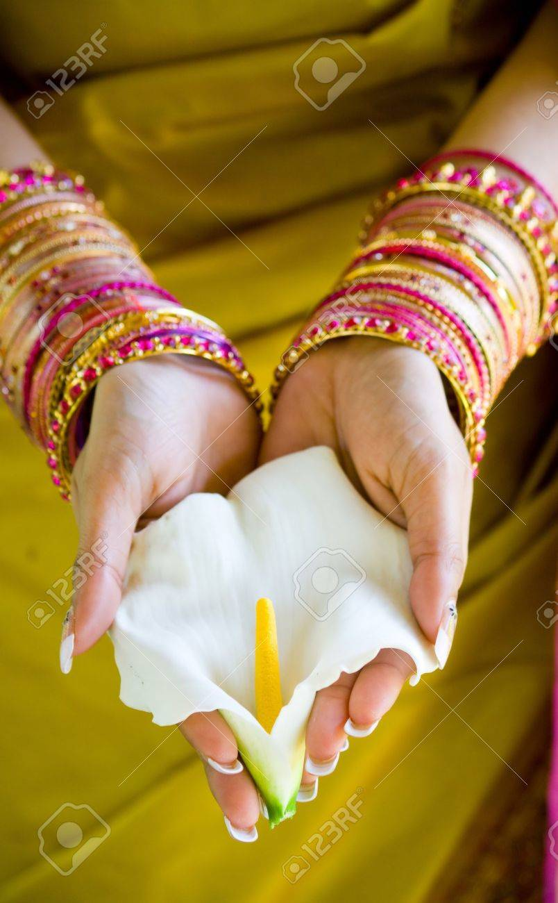 indian woman with flower stock photo picture and royalty free