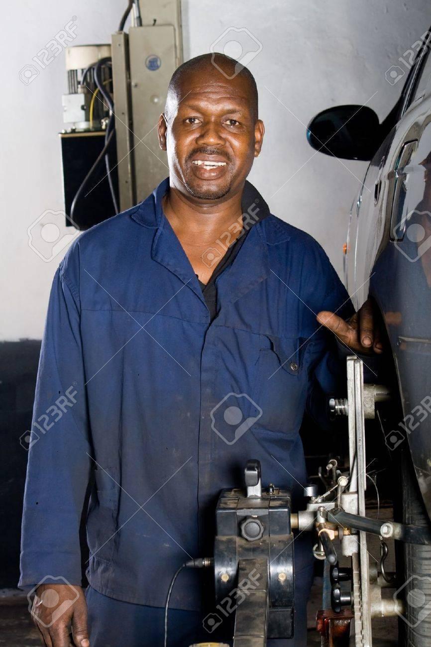 happy african mechanic portrait Stock Photo - 4038402