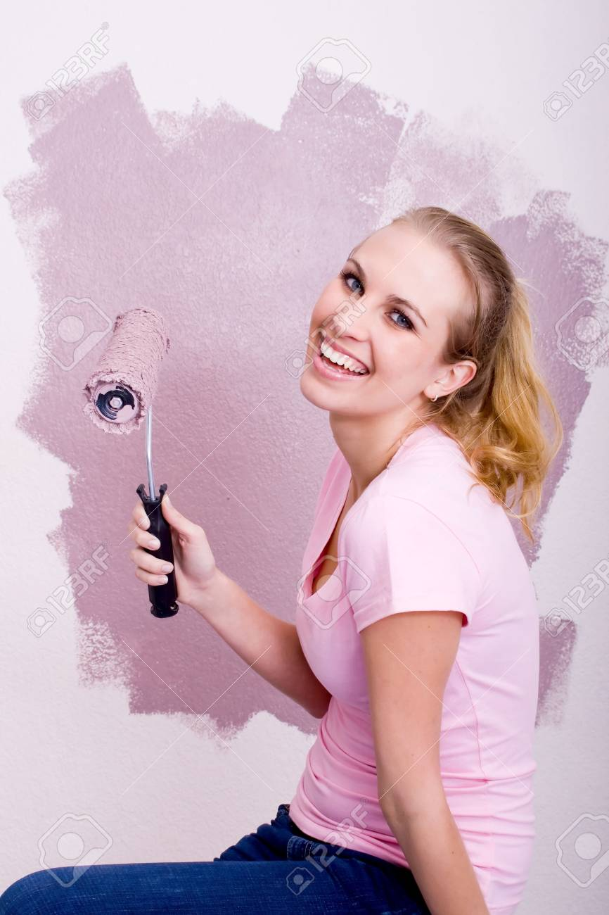 happy painting woman Stock Photo - 5499823