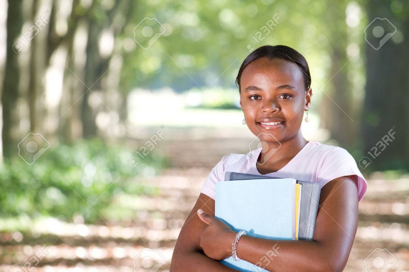 young african american student in park Stock Photo - 6652019